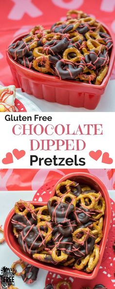 Nothing says love like chocolate covered pretzels. These gluten free pretzels dipped in chocolate are an easy treat that's the perfect valentine's day treat for friends, teachers and neighbors. Learn how to plan the perfect gluten free valentine's day party. #glutenfreevalentinesday