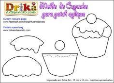 Patchwork moldes cupcake para patch aplique | Drika Artesanato - Dicas e sugestões sobre artesanato.
