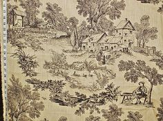 French farm toile fabric tan black toile dog fiddle Vervain from Brick House Fabric: Novelty Fabric