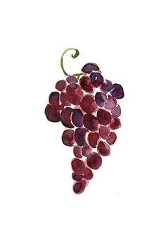 Grapes Print of original watercolor painting, purple grapes, Still life painting, Purple, Aubergine, kitchen art, wall decor