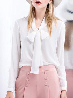 Bow Silk-crepe Long Sleeve Blouse