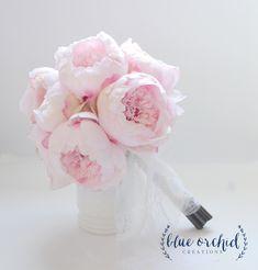 Blush Peony Bouquet - Large Blush Peony Bouquet, Silk Peony Bouquet, Peony Wedding Bouquet, Pink by blueorchidcreations on Etsy