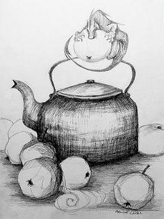 """""""SMOK I MALINÓWKI"""" rysunek wykonany ołówkiem przez artystkę plastyka Adrianę Laube na 300g papierze A3. Kitchen Appliances, Fantasy, Diy Kitchen Appliances, Home Appliances, Appliances, Fantasy Movies, Kitchen Gadgets, Fantasia"""