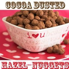 Cocoa-dusted Hazel-nuggets from Family Fresh Cooking. Perfect little bites with hints of orange and vanilla. YUM.