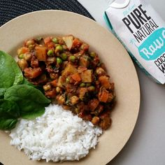 Low Fat, Vegan Curry: – 1 can of diced tomatoes – 1 can of chickpeas, drained & rinsed – 330ml @naturalrawc coconut water – 2 small carrots, diced – 1 large sweet potato, cubed – 3 white potatoes, cubed – 1 tsp dried corriander – 1/2 tsp ground tumeric, cinnamon, cloves & cumin – 1/4 tsp ground giner & carmadom IMG_20150709_072826.jpg