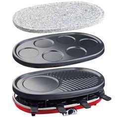H.Koenig RP418 Raclette-Grill 4 in 1, Raclette, Steingrill, Crêpe-Platte und Grill, 1500 W, schwarz / rot