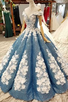 Denim Wedding Dresses, Lace Wedding Dress With Sleeves, Wedding Dress Patterns, Princess Wedding Dresses, Gown Wedding, Floral Wedding, Blue Ball Gowns, Ball Gown Dresses, Elegant Dresses