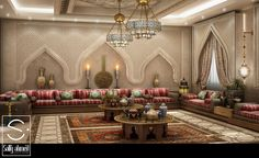 Oriantal Majilis - KSA on Behance Moroccan Decor Living Room, Moroccan Living Room, Living Design, House Design, Living Room Decor Apartment, Living Room Designs, House Interior, Arabic Decor, Room Design