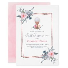 first communion   floral frame invitation   Zazzle.com
