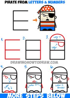 Easy Drawings: How to Draw Cartoon Pirate from Letters and Number...