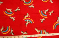 100% Cotton Fabric Red With Rainbows & Zebras