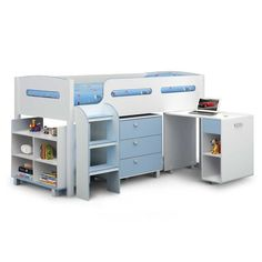 Buy Julian Bowen Kimbo Boys Cabin Bed - Single, White/Sky Blue securely online today at a great price. Julian Bowen Kimbo Boys Cabin Bed - Single, White/Sky Blue available today. Kids Mid Sleeper, White Mid Sleeper, Mid Sleeper Cabin Bed, Boys Cabin Bed, Cabin Beds For Kids, Cabin Bed With Storage, Bed Storage, Easy Storage, Storage Ideas