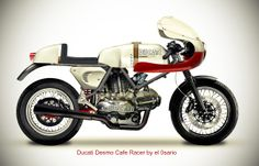 Ducati Desmo Cafe Racer Ducati Pantah TT2 frame, Ducati 750 GT engine, Ducati 750 SS fairing and gas tank, Guzzi V7 fork, Yamaha R1 clip ons…