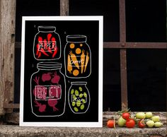 "Science of pickles - Kitchen Art Print 11""x15"" - Rustic Natural Food Fall Decor - archival fine art giclée print. $45.00, via Etsy."