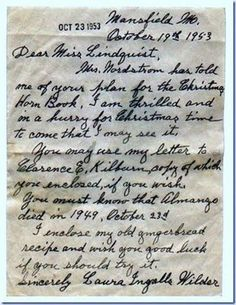 Letter from Laura Ingalls Wilder