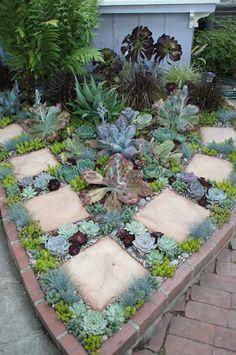 love this! Small Succulent Garden #Landscape_Design ##Landscape_Design_Ideas #Simple_Garden_Design #optimumgarden.com