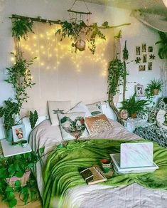 Add as much green and plants in your bedroom as you wish with this modern hippie plan. This stylistic theme in which the green and new look of the plants are giving relax able inclination. This inclination is lovely to enhance with the unadulterated white wall tapestry appeared in the picture. This is a basic yet appealing bedroom idea.