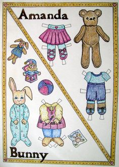 ... Simple Paper Doll » IMG_2542 Amanda and Bunny In Color Paper Doll