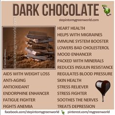 ☛ Do YOU know how good extra dark chocolate is for you?  Make sure it is at least 70% ORGANIC cacao.  PLEASE READ OUR ARTICLES:  1. IS DARK CHOCOLATE BECOMING A SUPERFOOD?  http://www.stepintomygreenworld.com/healthyliving/greenfoods/is-raw-chocolate-becoming-a-superfood/  ✒ Share | Like | Re-pin | Comment