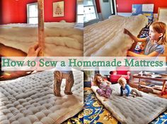 Homemade mattress topper just sew old pillows together and wrap this step by step tutorial of how to sew a homemade mattress made from wool batting diy solutioingenieria Image collections