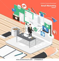 Isometric Flat design concepts for Email Marketing, Web Design Development, Big Data Analyze. Concepts for web banners and promotional materials.