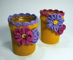 cachepot covered crochet with flowers  cachepot in di PyrosePatch