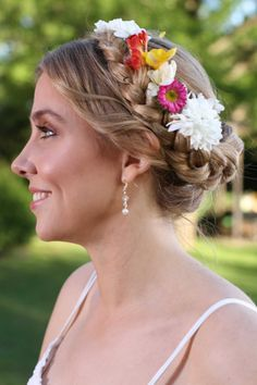 Peinado corona de flores casamiento