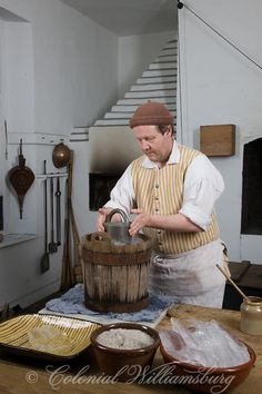 Rob Brantley making ice cream at the Governor's Palace Kitchen. Photo by David M. Doody Z Colonial Williamsburg Va, Williamsburg Virginia, Colonial America, Kitchen Decor, Kitchen Ideas, Best Budget, Kitchen On A Budget, Beautiful Kitchens, Ice Cream