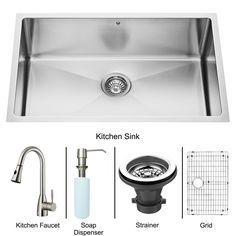 VIGO Undermount Stainless Steel Kitchen Sink, Faucet, Grid, Strainer and Dispenser - Overstock™ Shopping - Big Discounts on Vigo Sink & Faucet Sets