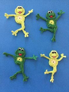 Free crochet pattern of a dancing frog. Click to get the crochet frog pattern.