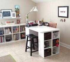 Two small bookcases with a table top.  Great for crafts, school supplies, toys, and geek gear.