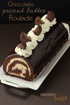 Chocolate and Peanut Butter Roulade made with homemade peanut butter and PB cups. For serious peanut butter lovers only! Chocolate and Peanut Butter Roulade made with homemade peanut butter and PB cups. For serious peanut butter lovers only! Chocolate Roll Cake, Chocolate Desserts, Lindt Chocolate, Chocolate Crinkles, Chocolate Roulade, Chocolate Smoothies, Chocolate Shakeology, Chocolate Drizzle, Chocolate Frosting