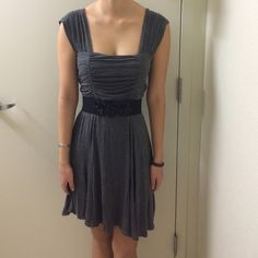 Grey Dress great condition, worn a couple times. super cute with the black belt, bundle & save 15%! Charlotte Russe Dresses