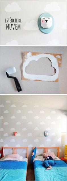 DIY- Faça você mesmo. Decoração com Stencil. Nuvens na parede. Mais dicas no nosso blog: http://www.flocodecor.blog.br/