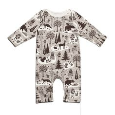 Organic Long-Sleeve Romper - Winter Forest Chocolate | Winter Water Factory