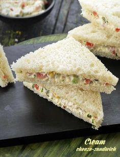 This cold sandwich is everything you could ask for filling refreshing tasty An intelligent combination of juicy and crunchy veggies with cream cheese herbs and spices ma. Sandwich Bar, Party Sandwiches, Salami Sandwich, Cream Cheese Sandwiches, Sandwich Cream, Cold Sandwiches, Chicken Sandwich, Chutney Sandwich, Mayonnaise Sandwich