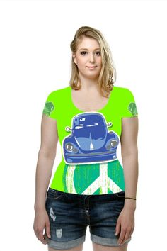 'Beetle Blue on Green' by A Hogan. All Over Printed Art Fashion T-Shirt by OArtTee Homage to the humble VW Beetle. Tags: #green #herbie #thelovebug #Beetle #VW #Volkswagen #blue #brightgreen #bold #colours #cars #german #autos #classic #iconic #images #sixties #peace #hippies #cool