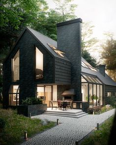 """13.1k Likes, 64 Comments - D.Signers (@d.signers) on Instagram: """"Love the dark Facade!  #House in the Woods designed and visualized by Antony Polyvianyi. Tag an…"""""""