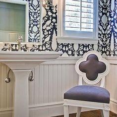 bathrooms - gray & white quatrefoil chair.