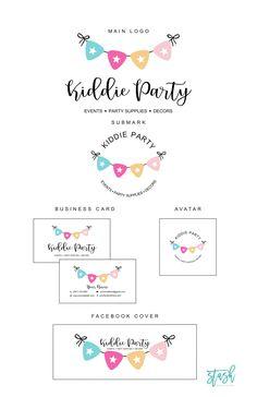 Cute Bunting Logo - Party Banner Logo. Boutique Logo, Kids Boutique, Balloon Logo, Kids Party Planner, Eyelash Logo, Party Logo, Bunting, Artist Logo, Event Logo