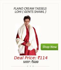 Flano Cream Tassels Lohi ( Gents Shawl )