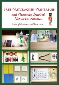 List of free Christmas Nutcracker printables for preschoolers through first graders along with ideas for Montessori-inspired Nutcracker activities using free printables