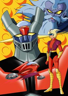 cartoons japan Mazinger Z by Go Nagai - Gosaku Ota (Kazuhiro Ochi cover) Old School Cartoons, Old Cartoons, Classic Cartoons, Japanese Superheroes, Battle Robots, Big Robots, Robot Cartoon, Mecha Anime, Old Anime