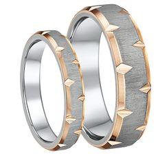 Rose Edged Titanium Wedding Ring Set 4mm