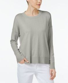 Eileen Fisher Organic Cotton-Cashmere Boxy Top - White XS