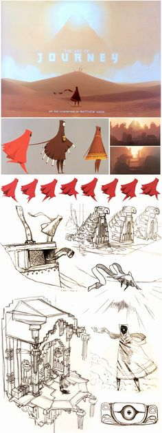 various concept pieces from journey, with the way that the character has been simply made, you can see the dynamic flow of the character movement.
