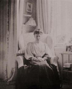 "Irene,Princess Henry of Prussia seated in a corner of her sister's Mauve Boudoir at The Alexander Palace,Tsarskoe Selo in ""AL"""