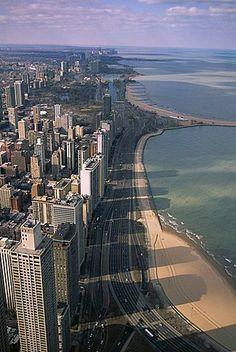 View north along shore of Lake Michigan from John Hancock Center, Chicago…