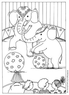 circus elephants coloring page