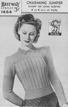 Vintage 1940's Knitting Pattern Charming by KitandCaboodleCrafts